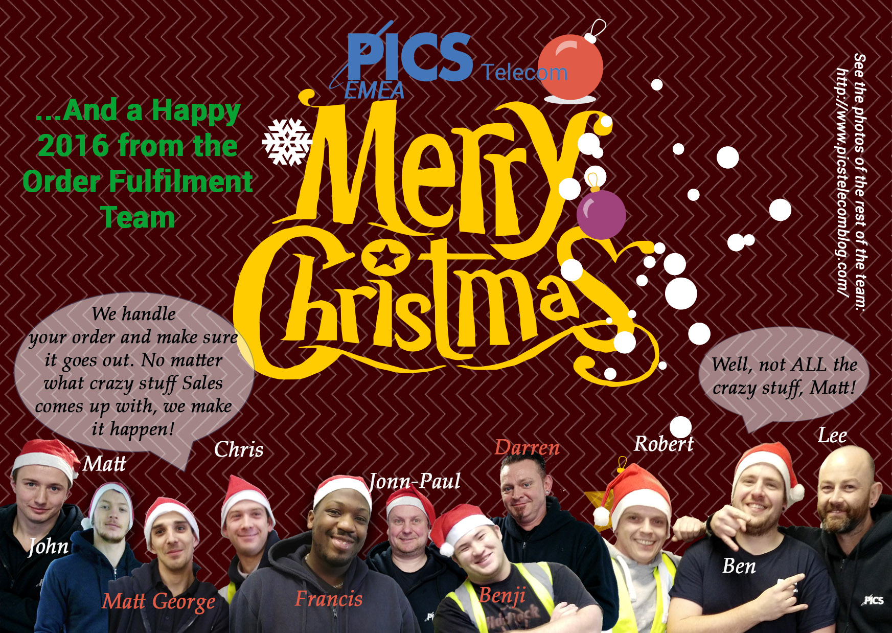 PICS Telecom Christmas Card Warehouse Guys