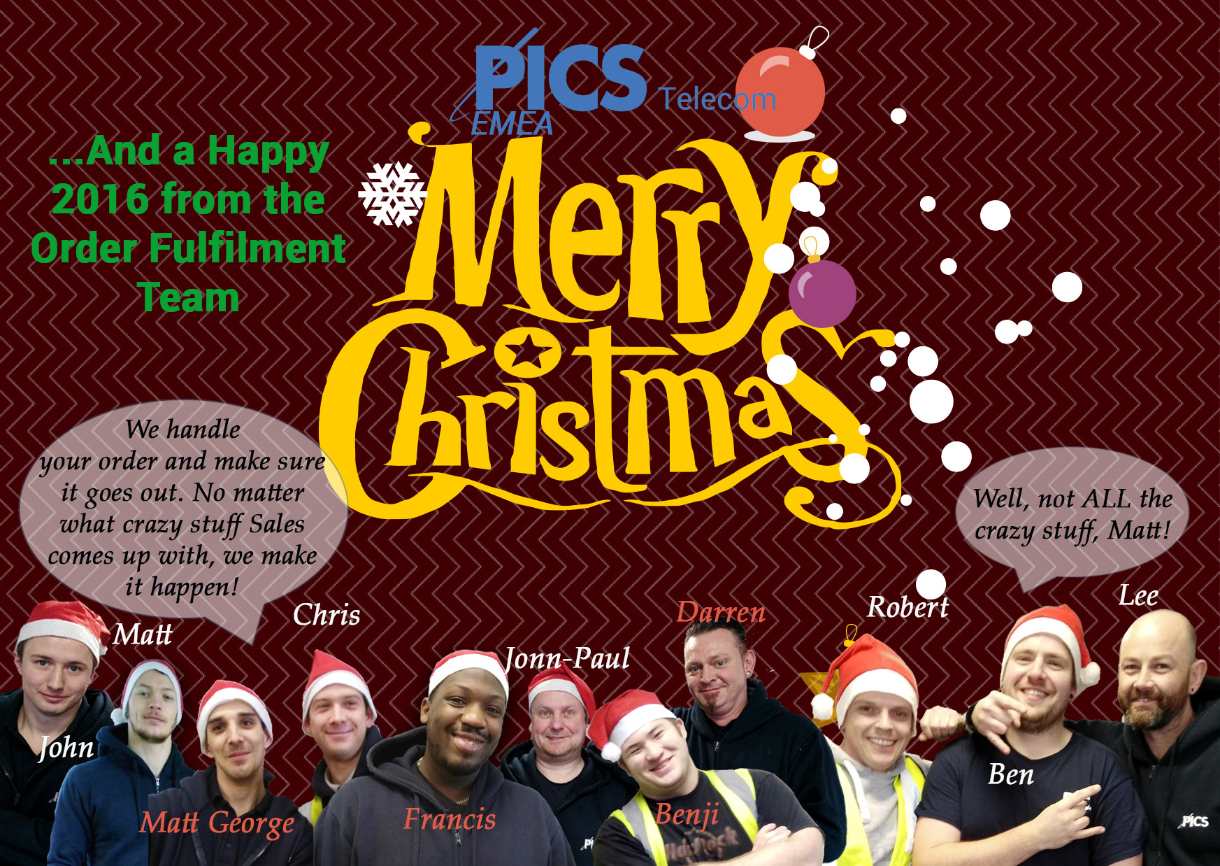PICS Telecom UK Christmas Card Warehouse